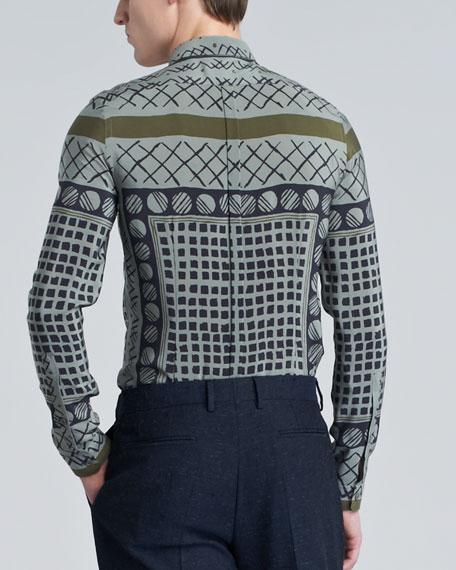 Printed Sport Shirt, Pale Celadon Gray