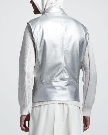 Metallic Leather Vest
