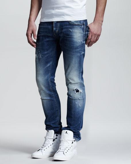 Splash-Print Faded Slim Jeans