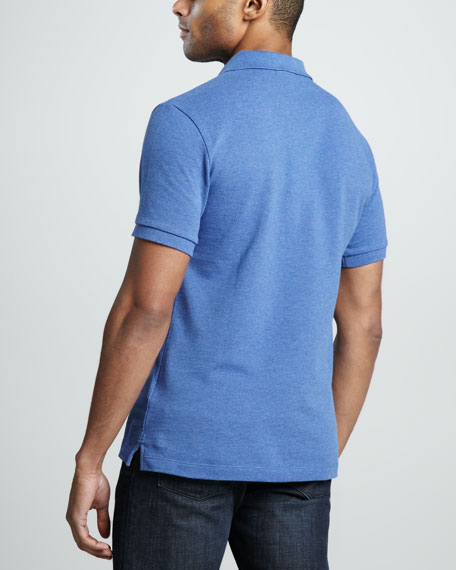 Check-Trim Pique Polo, Jet Blue Melange