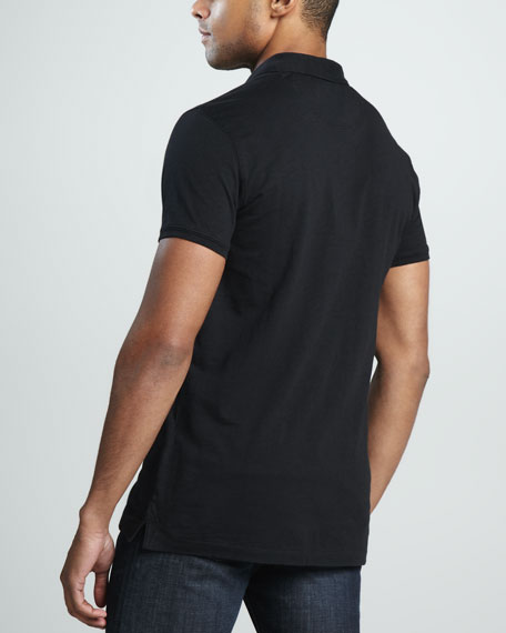 Check-Placket Slub Polo, Black