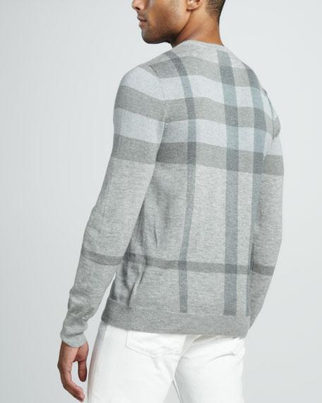 Check Crewneck Sweater, Powder Blue