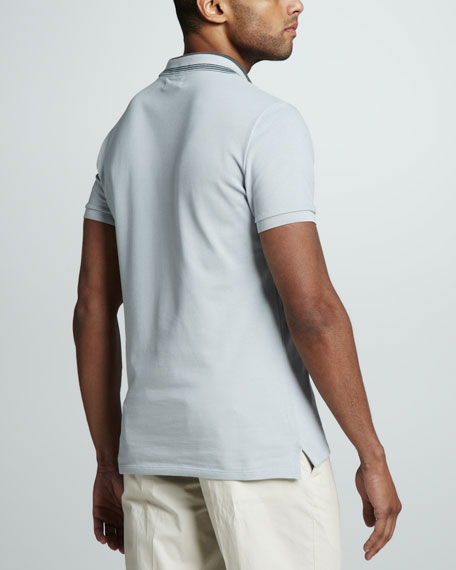Stripe-Collar Pique Polo, Pale Stone Blue