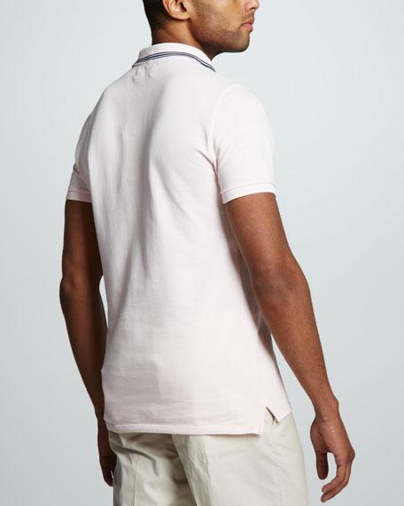 Stripe-Collar Pique Polo, Pink