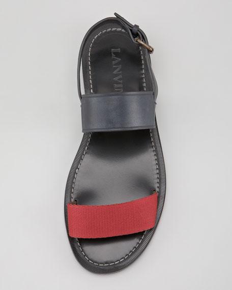 Mixed-Strap Flat Sandal