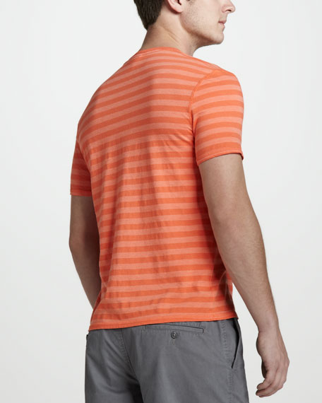 Vintage-Wash Striped Tee, Guava Orange