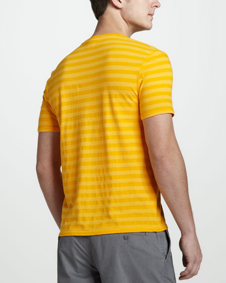 Vintage-Wash Striped Tee, Gerbera Daisy Yellow