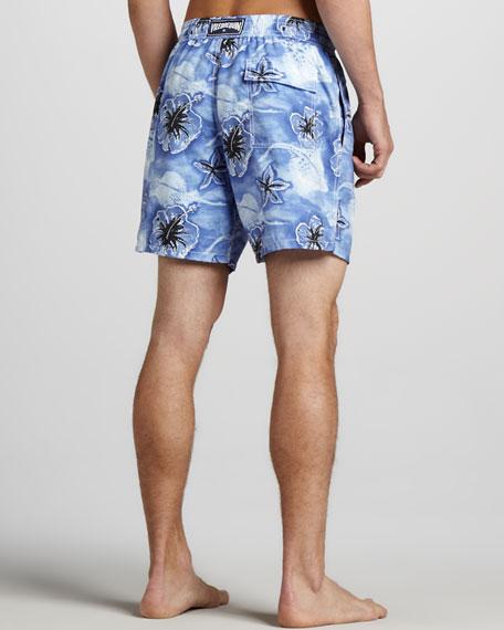 Moorea Stingray/Hibiscus Swim Trunks
