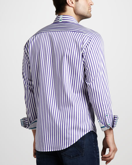 Lanai Striped Sport Shirt, Purple