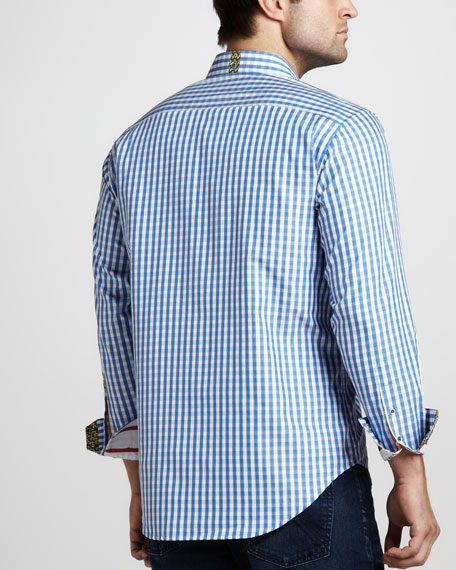 Bleu Gingham Sport Shirt, Blue
