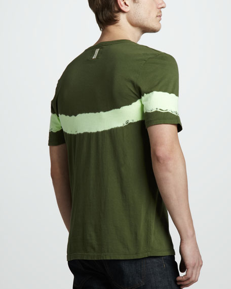 Andaman Striped Tee, Olive/Lime