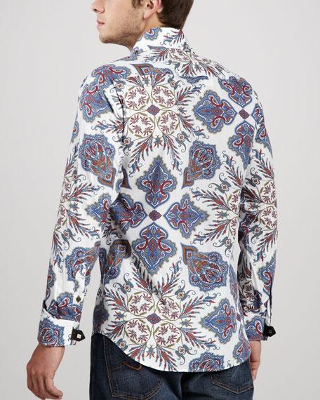 Matis Paisley-Print Shirt, Blue