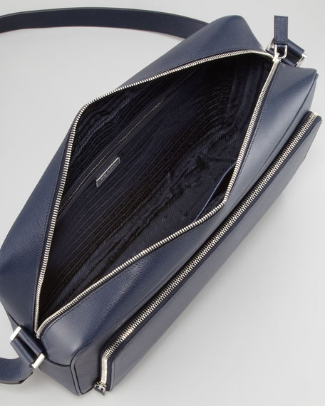Saffiano iPad Messenger Bag, Navy