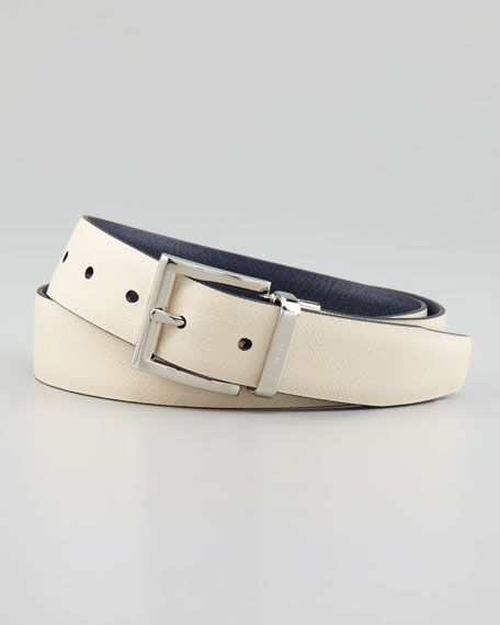 Reversible Saffiano Belt, Blue/Gray