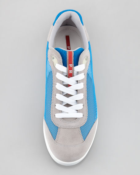 Suede and Mesh Sneaker, Gray/Blue