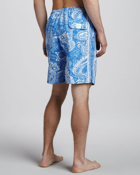 Paisley Swim Trunks, Navy