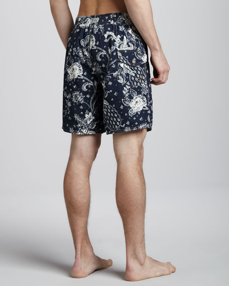 Sanibel Bandana-Print Swim Trunks