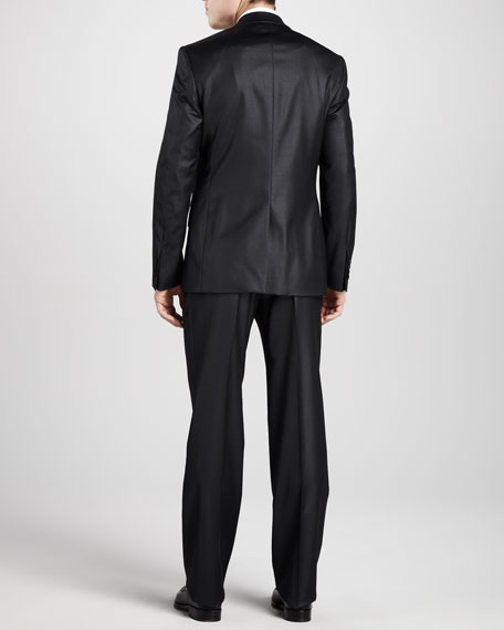 Two-Button Wool Suit, Long, Lustrous Black
