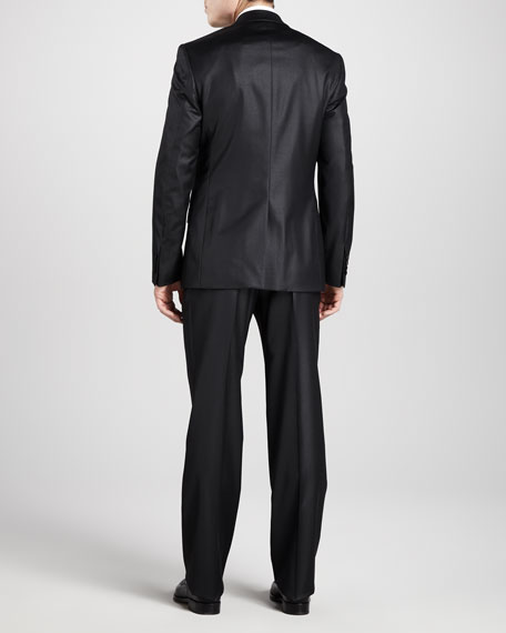 Two-Button Wool Suit, Short, Lustrous Black