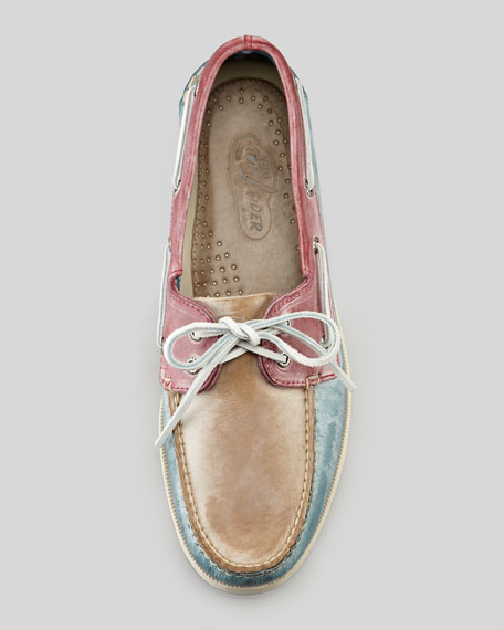 Tricolor White Washed Boat Shoe