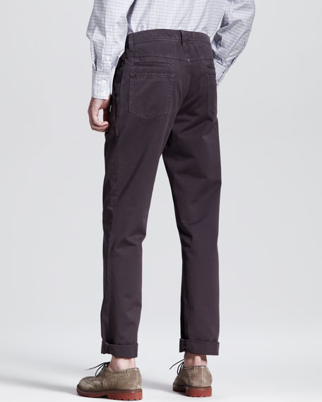 Twill Six-Pocket Pants, Eggplant
