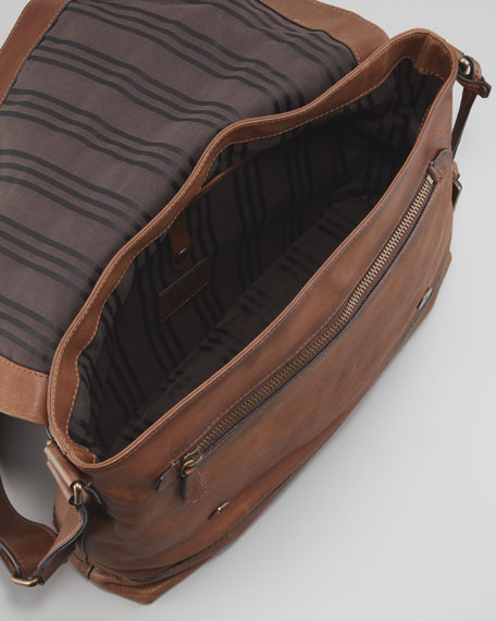 James Leather Messenger Bag, Taupe