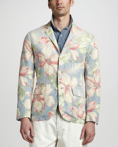 Hibiscus-Print Blazer