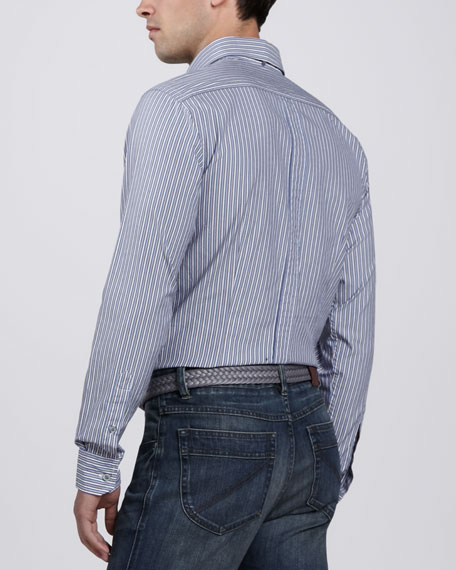 Striped Sport Shirt, Blue/Tan