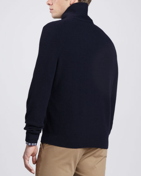 Contrast Shawl-Collar Sweater