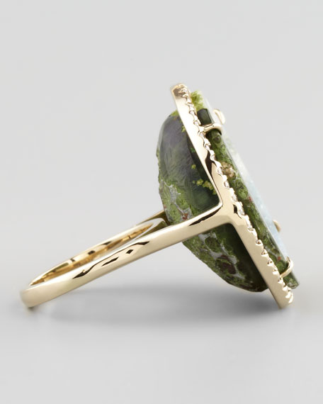 18k White Gold Geode & Diamond Ring