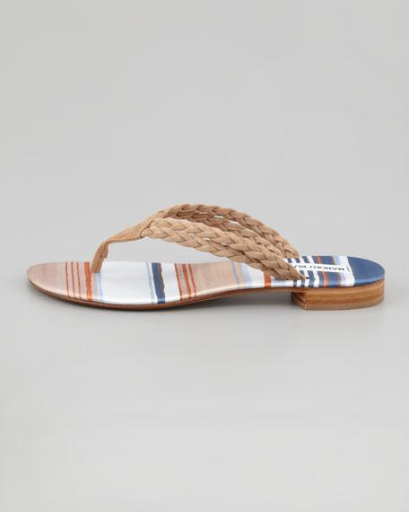 Resina Braided Suede Thong Sandal