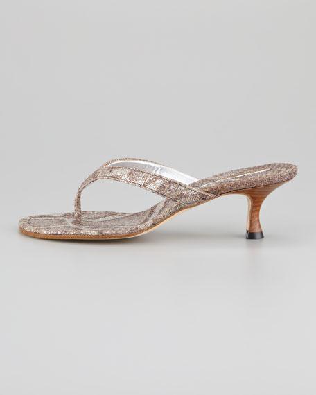 Afrino Metallic Snake-Print Thong Sandal
