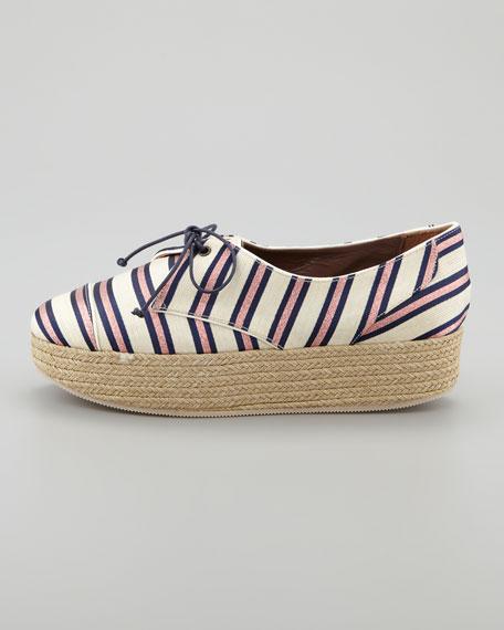 Florence Tie-Striped Platform Espadrille Sneaker, Pink/Navy