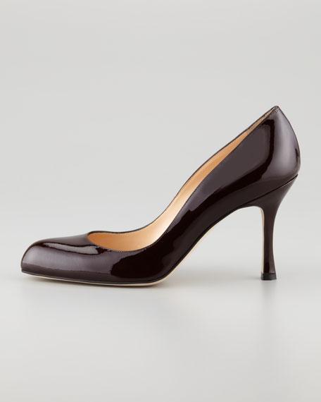Fokapump Patent Almond-Toe Pump, Chocolate Brown