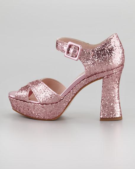 Glitter Crisscross Mary Jane Sandal, Rosa
