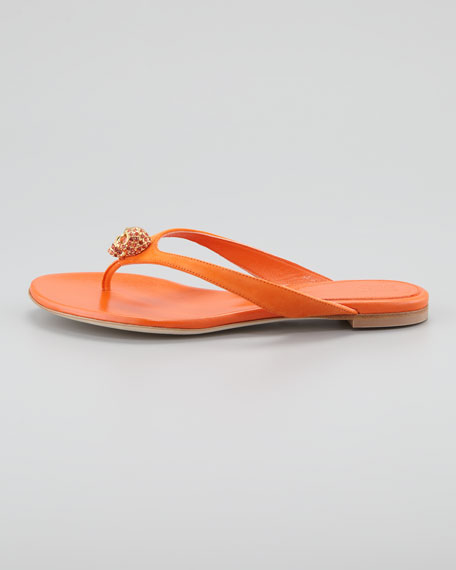 Skull-Detail Suede Thong Sandal, Orange