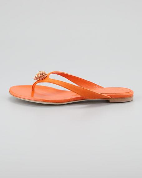 Skull-Detail Suede Thong Sandal, Orange