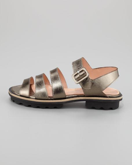 Bidac Multi-Strap Metallic Sandal, Pewter