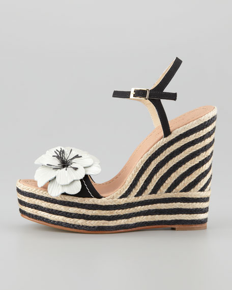 lainey striped espadrille wedge, black