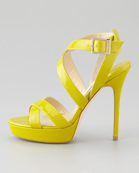 Vamp Crisscross Sandal, Lime Green