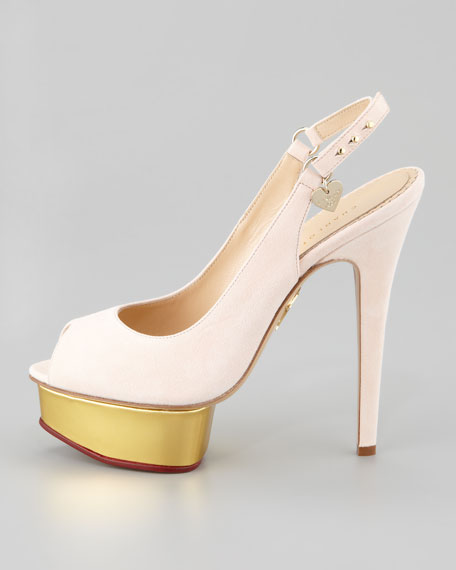 Bon Bon Suede Slingback Pump, Light Pink
