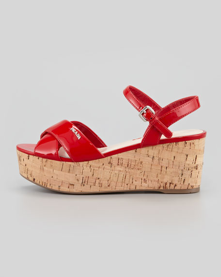 Crisscross Patent and Cork Wedge Sandal