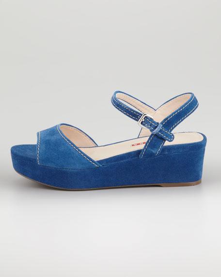 Topstitched Suede Flatform Sandal