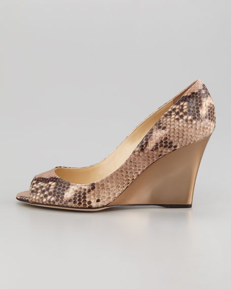 Baxen Peep-Toe Snake-Print Wedge Pump