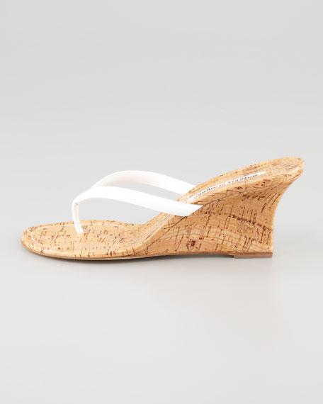 Patwedfac Patent Thong Sandal, White