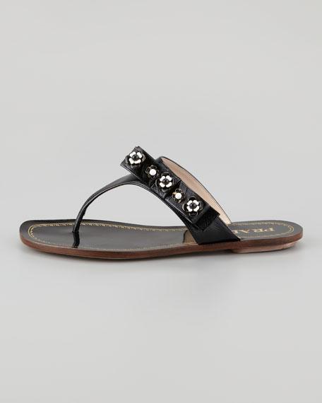 Vernice Saffiano Flower Bow Thong Sandal, Black