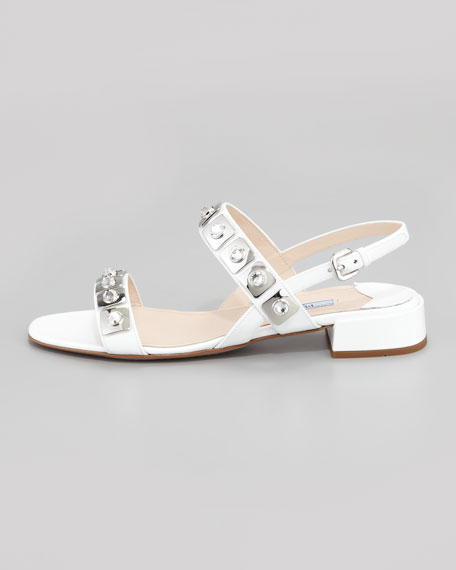 Jeweled Double-Strapped Sandal, White