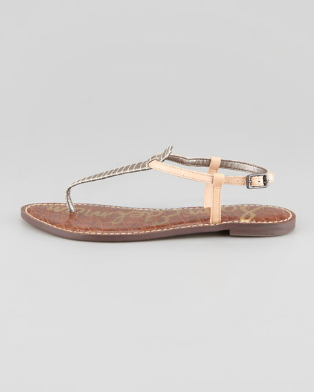 Gigi Snake-Print Leather Thong Sandal, Pewter/Natural
