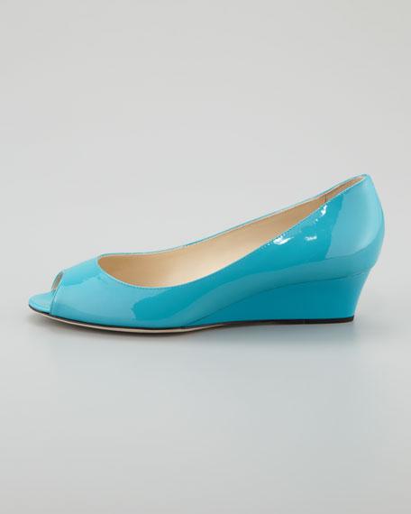 Bergen Peep-Toe Patent Wedge, Turquoise