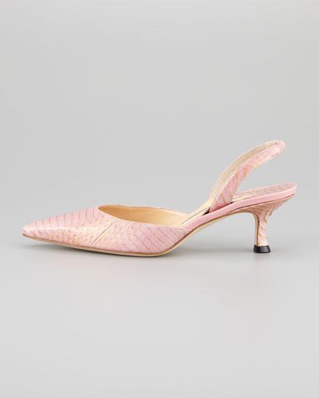 Carolyne Snakeskin Low-Heel Halter Pump, Pink